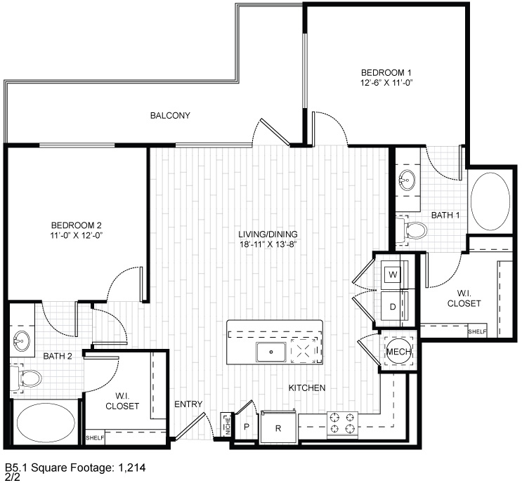 1,214 sq. ft. B5.1 floor plan