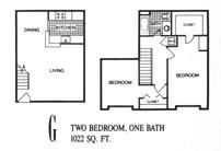 1,022 sq. ft. G floor plan