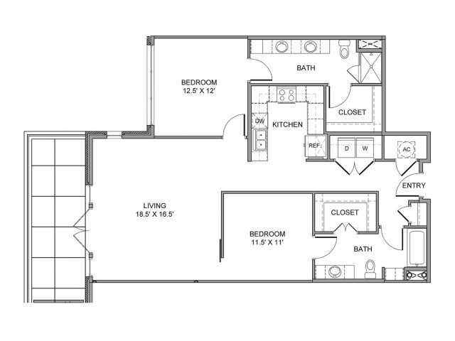 1,270 sq. ft. St Louis floor plan