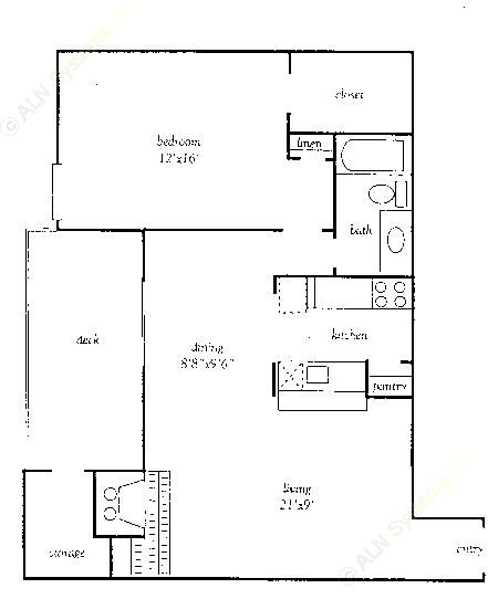 845 sq. ft. DP floor plan