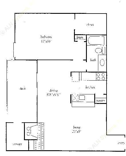 845 sq. ft. DP floor plan
