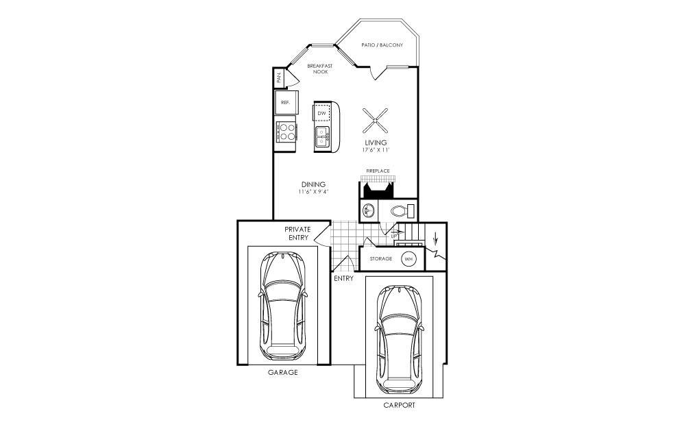 1,317 sq. ft. B5 floor plan