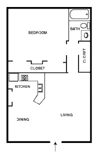 800 sq. ft. CASABLANCA floor plan