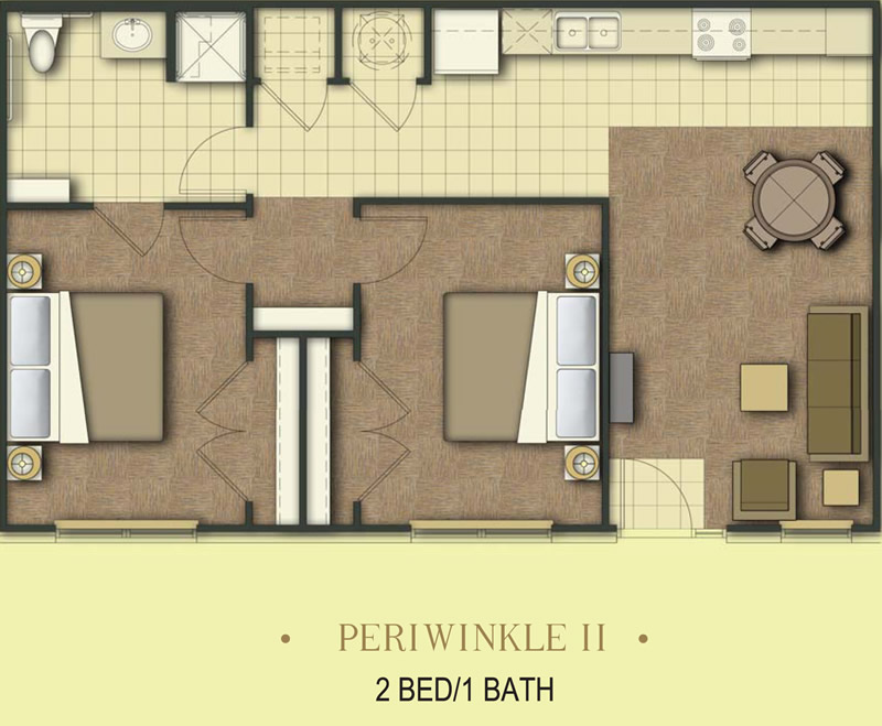 850 sq. ft. Periwinkle/60% floor plan