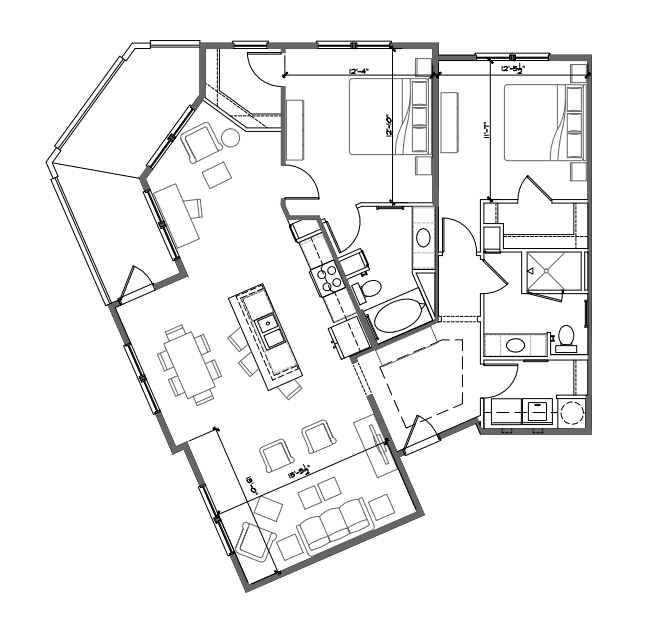 1,345 sq. ft. B4 floor plan