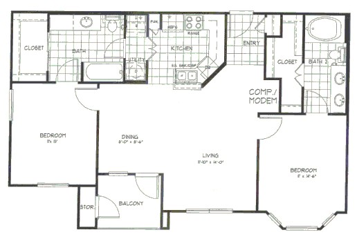 1,071 sq. ft. Pine floor plan