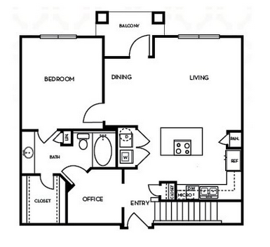 912 sq. ft. A4.1G floor plan