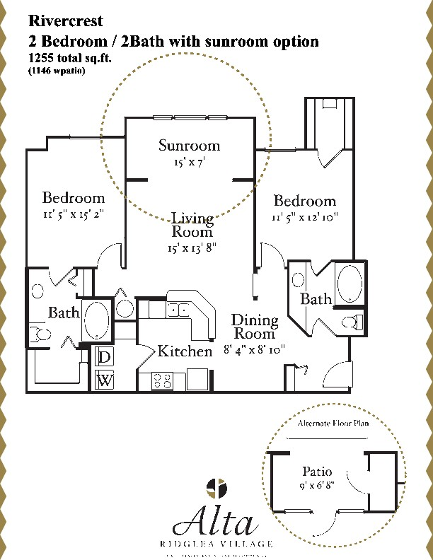 1,146 sq. ft. to 1,175 sq. ft. Rivercrest w/ Patio floor plan
