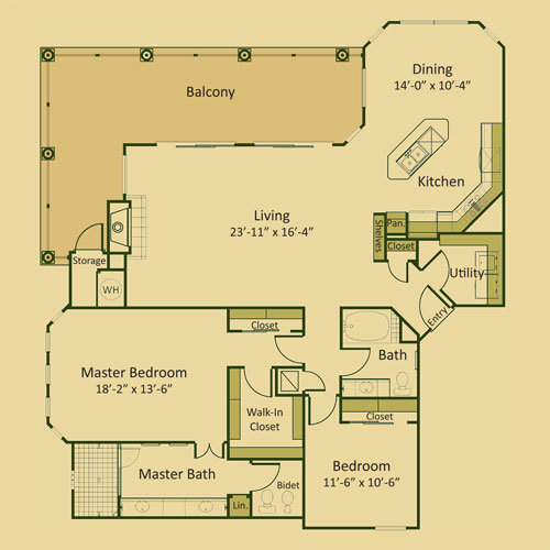 1,666 sq. ft. 2C-FP floor plan