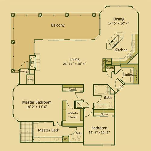 1,666 sq. ft. 2C-FP floor plan