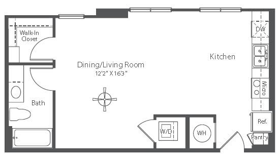 585 sq. ft. S1 floor plan