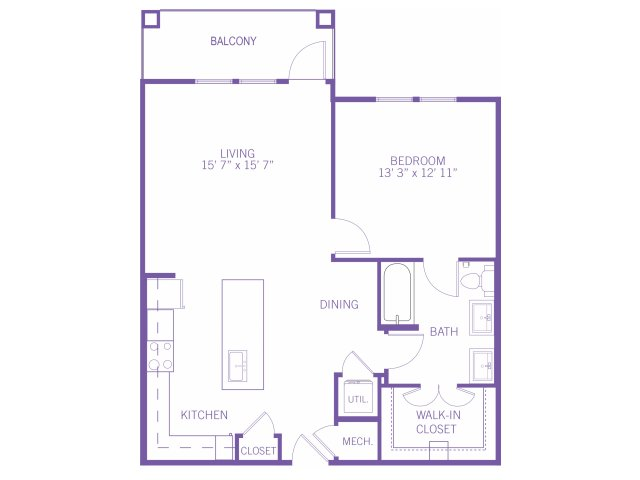 880 sq. ft. A5 floor plan