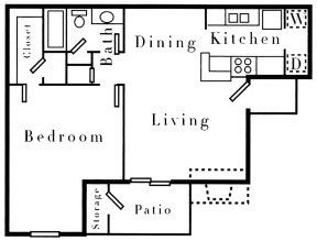 718 sq. ft. A1 floor plan