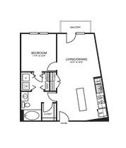 796 sq. ft. A1U floor plan
