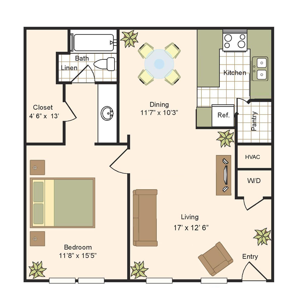 900 sq. ft. B floor plan