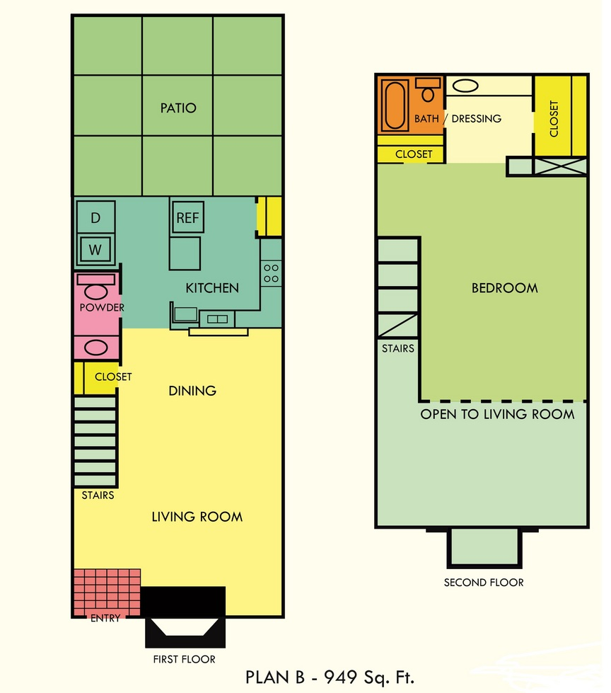 949 sq. ft. to 979 sq. ft. floor plan