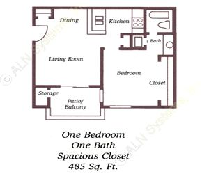 485 sq. ft. E1 floor plan