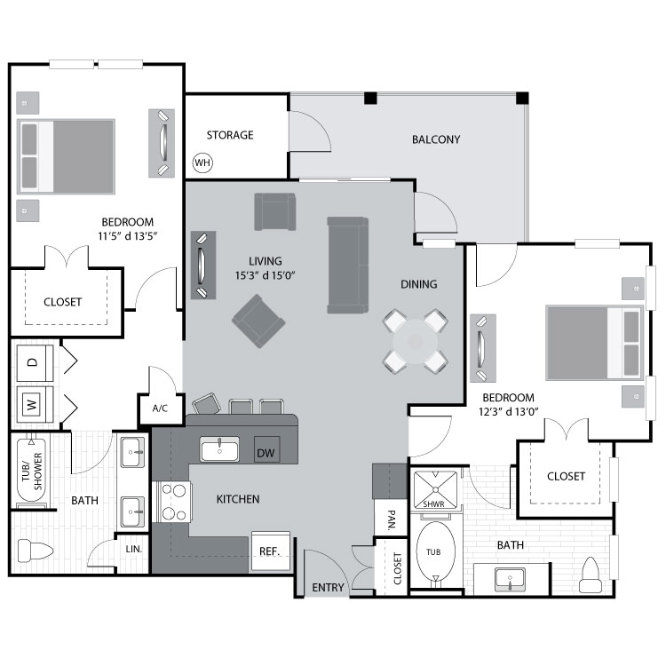 1,205 sq. ft. B2 floor plan