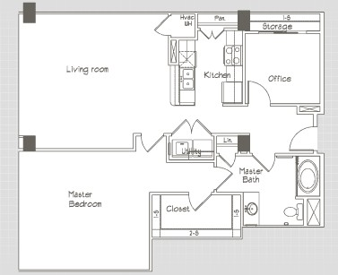 1,116 sq. ft. A8 floor plan
