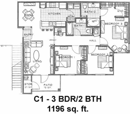 1,196 sq. ft. C1/60% floor plan