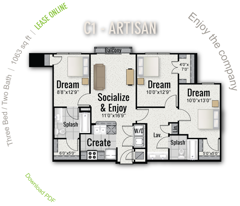 1,063 sq. ft. C1 floor plan