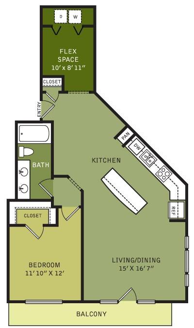 991 sq. ft. AF3 (II) floor plan