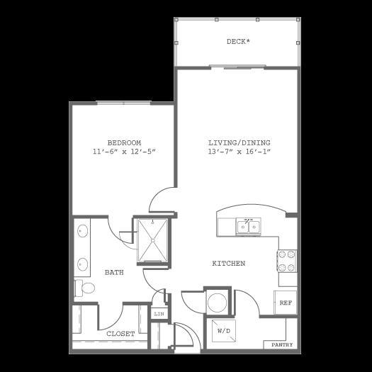 785 sq. ft. A5 floor plan