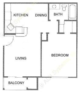 577 sq. ft. A2 floor plan