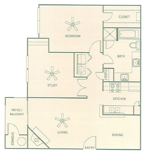 894 sq. ft. B floor plan