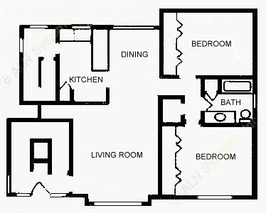 1,001 sq. ft. B1D floor plan