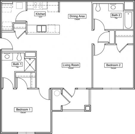 1,007 sq. ft. 60% floor plan