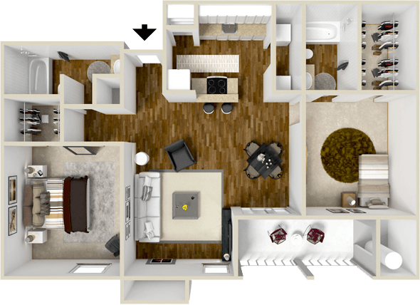 946 sq. ft. McKinney floor plan