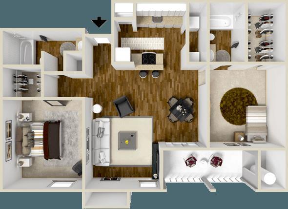 946 sq. ft. McKinney floor plan