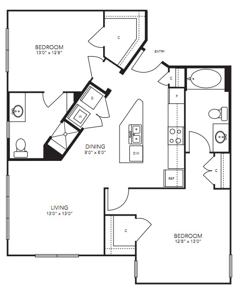 1,059 sq. ft. B7 floor plan