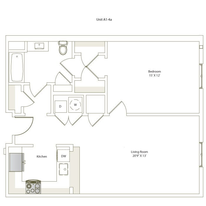 782 sq. ft. A1-4/A1-4A floor plan