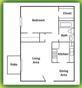 740 sq. ft. floor plan