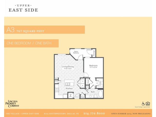 767 sq. ft. A3 floor plan