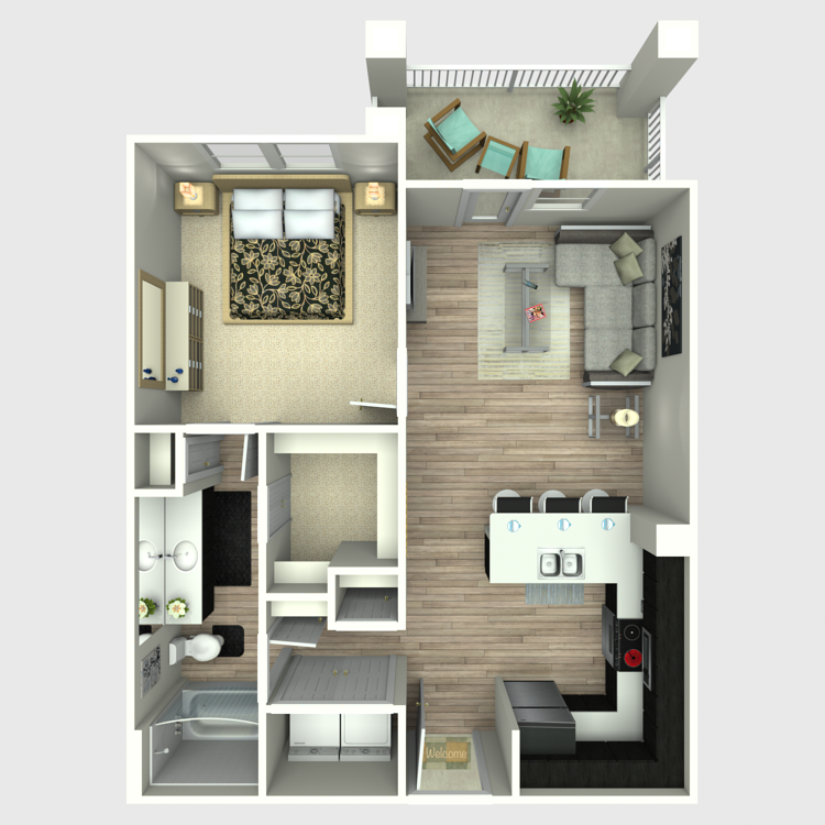 704 sq. ft. A3 floor plan