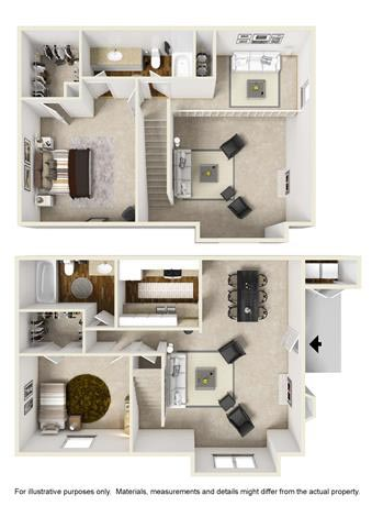 1,178 sq. ft. D2 TOWN floor plan