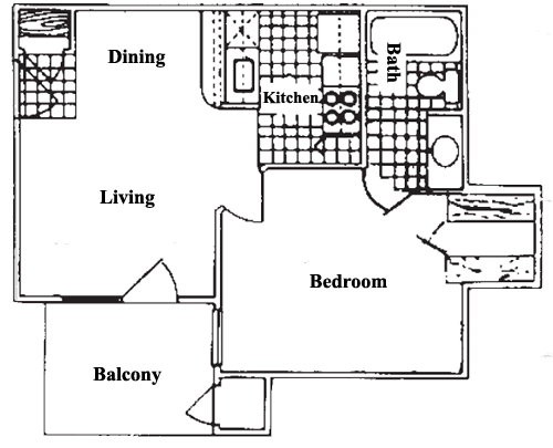 456 sq. ft. A0 floor plan