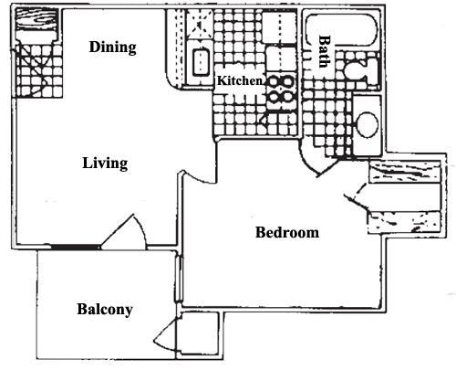 456 sq. ft. A0 floor plan