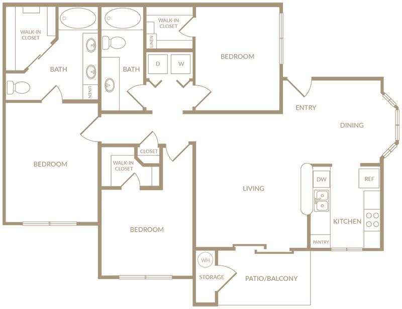1,262 sq. ft. to 1,283 sq. ft. C1 floor plan
