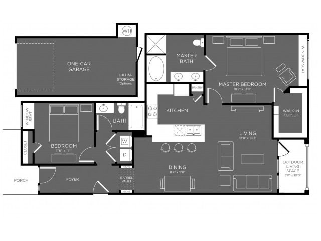 1,259 sq. ft. Peak floor plan