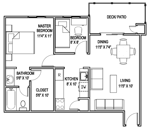 652 sq. ft. D floor plan