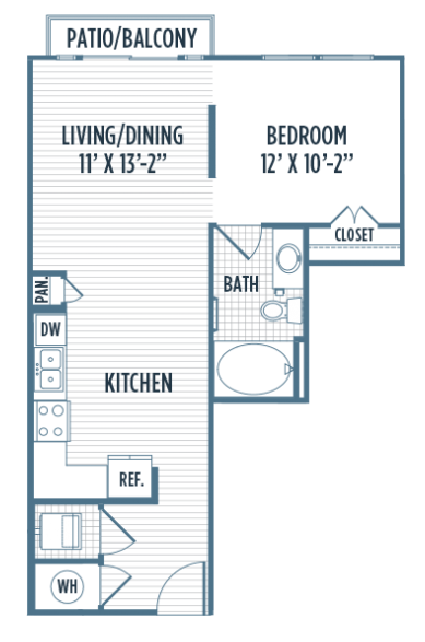 621 sq. ft. E4 floor plan
