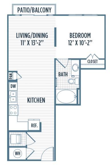 621 sq. ft. E4 floor plan