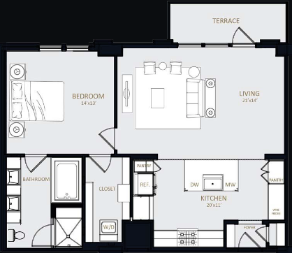 990 sq. ft. A3 floor plan