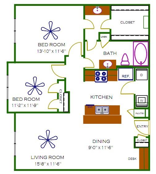 965 sq. ft. James floor plan