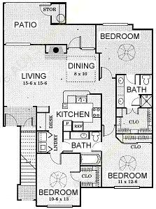 1,330 sq. ft. Lone Star - C1 floor plan