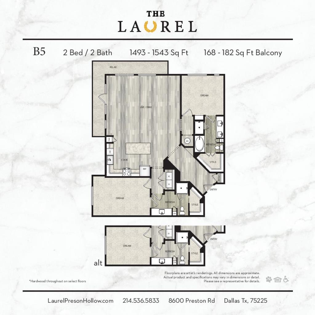 1,493 sq. ft. to 1,543 sq. ft. B5 floor plan